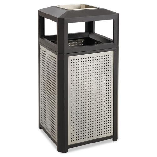 Ashtray-Top Evos Series Steel Waste Container, 38 gal, Black. Picture 1