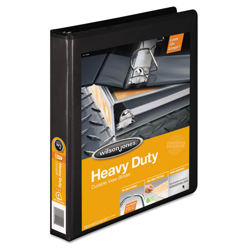 """Heavy-Duty D-Ring View Binder with Extra-Durable Hinge, 3 Rings, 1"""" Capacity, 11 x 8.5, Black. Picture 1"""
