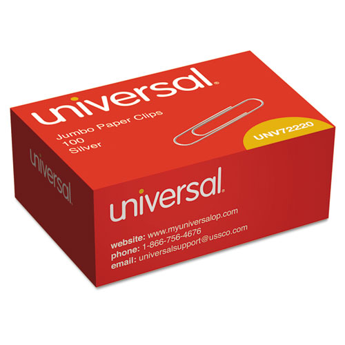 Paper Clips, Jumbo, Silver, 100/Box. Picture 1