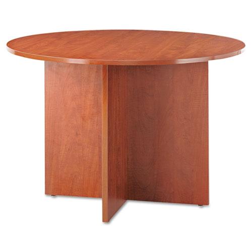 Alera Valencia Round Conference Table w/Legs, 29 1/2h x 42 dia., Medium Cherry. Picture 1
