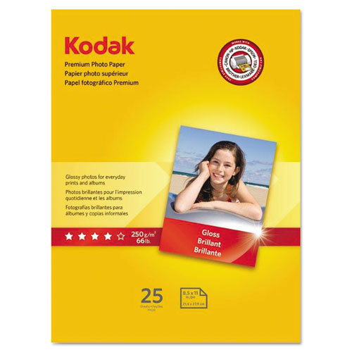 Premium Photo Paper, 8.5 mil, 8.5 x 11, Glossy White, 25/Pack. Picture 1