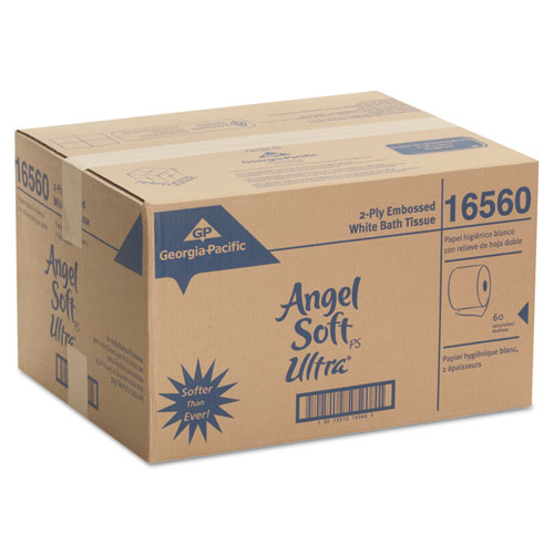 Angel Soft ps Ultra 2-Ply Premium Bathroom Tissue, Septic Safe, White, 400 Sheets Roll, 60/Carton. Picture 5