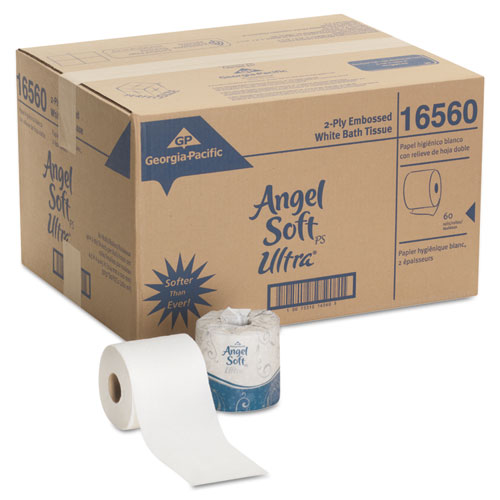 Angel Soft ps Ultra 2-Ply Premium Bathroom Tissue, Septic Safe, White, 400 Sheets Roll, 60/Carton. Picture 4