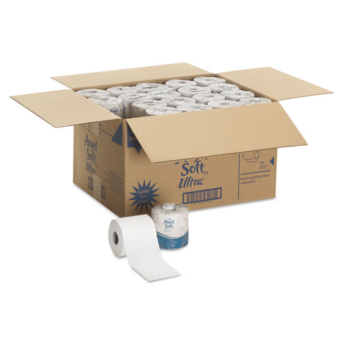 Angel Soft ps Ultra 2-Ply Premium Bathroom Tissue, Septic Safe, White, 400 Sheets Roll, 60/Carton. Picture 2