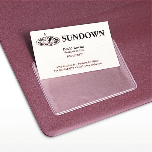 Self-Adhesive Business Card Holders, Top Load, 3-1/2 x 2, Clear, 10/Pack. Picture 3