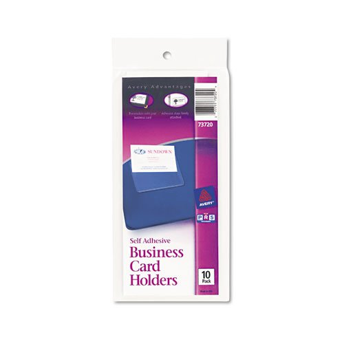 Self-Adhesive Business Card Holders, Top Load, 3-1/2 x 2, Clear, 10/Pack. Picture 1