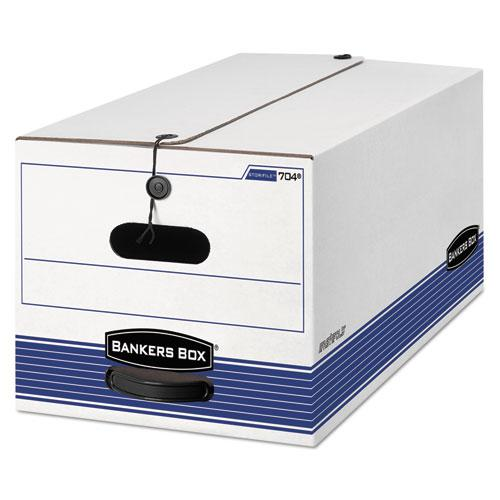 """STOR/FILE Medium-Duty Strength Storage Boxes, Letter Files, 12.25"""" x 24.13"""" x 10.75"""", White/Blue, 4/Carton. Picture 1"""
