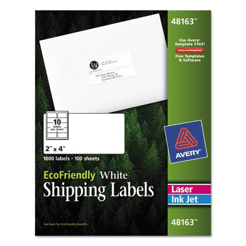 EcoFriendly Mailing Labels, Inkjet/Laser Printers, 2 x 4, White, 10/Sheet, 100 Sheets/Pack. Picture 1