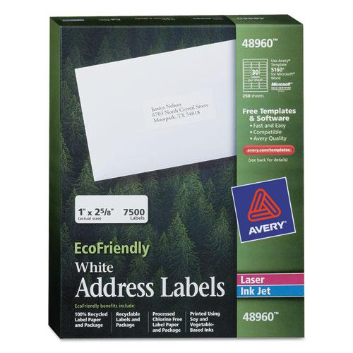 EcoFriendly Mailing Labels, Inkjet/Laser Printers, 1 x 2.63, White, 30/Sheet, 250 Sheets/Box. Picture 1