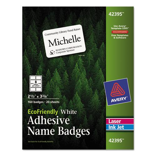 EcoFriendly Adhesive Name Badge Labels, 3.38 x 2.33, White, 160/Box. Picture 1