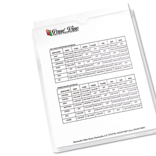 """Top-Load Clear Vinyl Envelopes w/Thumb Notch, 9"""" x 12"""", Clear, 10/Pack. Picture 2"""