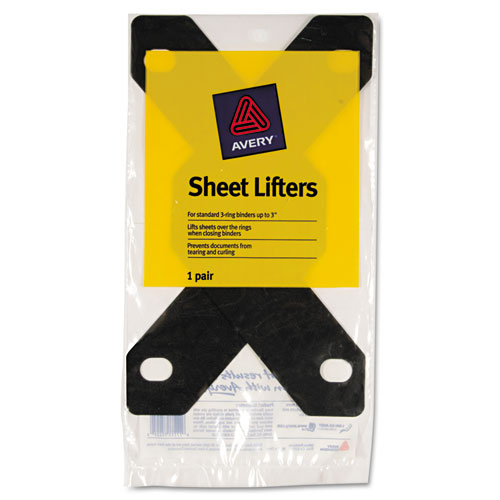 Triangle Shaped Sheet Lifter for Three-Ring Binder, Black, 2/Pack. Picture 3