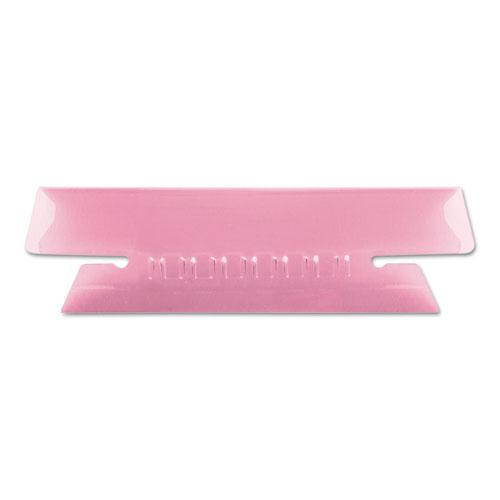 """Transparent Colored Tabs For Hanging File Folders, 1/3-Cut Tabs, Pink, 3.5"""" Wide, 25/Pack. Picture 1"""