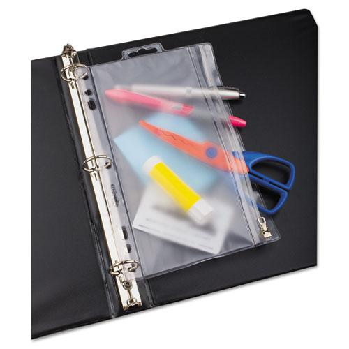 Zippered Ring Binder Pocket, 9 1/2 x 6, Clear. Picture 3