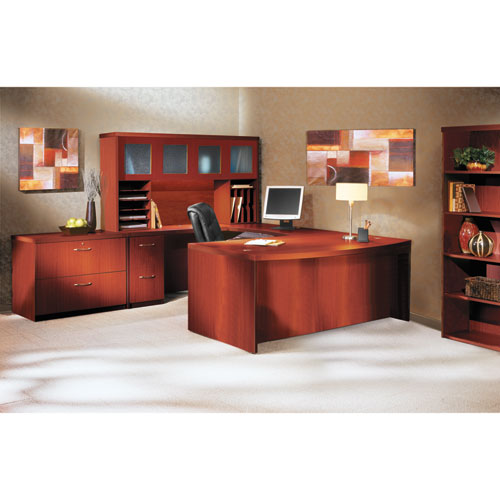 Aberdeen Series Laminate Bow Front Desk Shell, 72w x 42d x 29-1/2h, Cherry. Picture 4