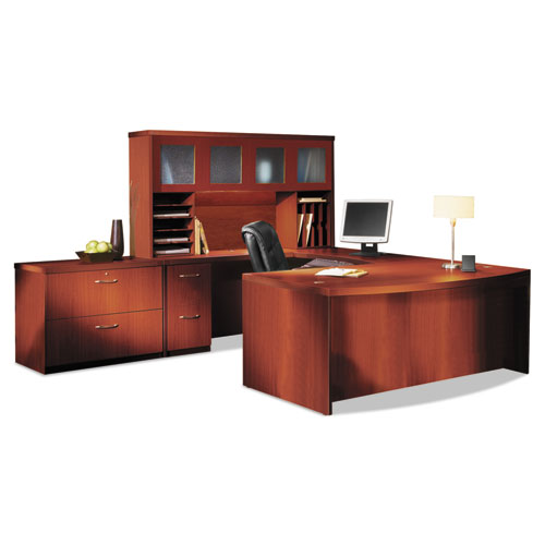 Aberdeen Series Laminate Bow Front Desk Shell, 72w x 42d x 29-1/2h, Cherry. Picture 5