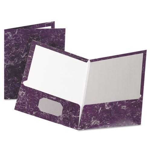 Marble Design Laminated High-Gloss Twin Pocket Folder, Purple, 25/box. Picture 1