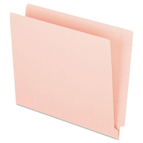 Colored End Tab Folders with Reinforced 2-Ply Straight Cut Tabs, Letter Size, Pink, 100/Box. Picture 1