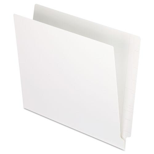 Colored End Tab Folders with Reinforced 2-Ply Straight Cut Tabs, Letter Size, White, 100/Box. Picture 1