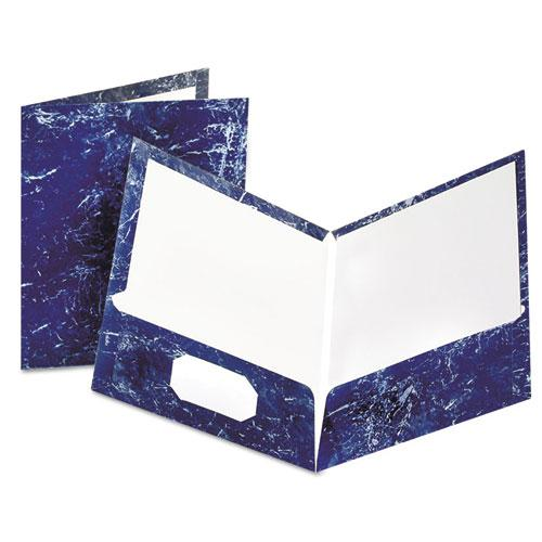 Marble Design Laminated High Gloss Twin Pocket Folder,Navy, 25/box. Picture 1