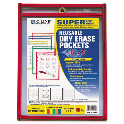 Reusable Dry Erase Pockets, 6 x 9, Assorted Primary Colors, 10/Pack. Picture 1