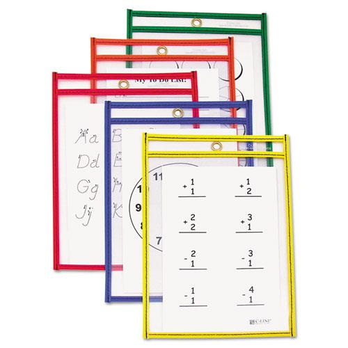 Reusable Dry Erase Pockets, 6 x 9, Assorted Primary Colors, 10/Pack. Picture 2