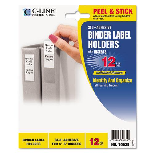 Self-Adhesive Ring Binder Label Holders, Top Load, 2 3/4 x 3 5/8, Clear, 12/Pack. Picture 1