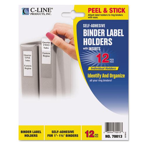 Self-Adhesive Ring Binder Label Holders, Top Load, 1 x 2 13/16, Clear, 12/Pack. Picture 1