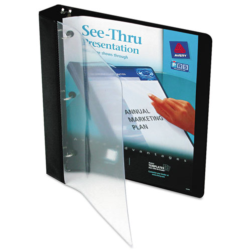 """See-Thru View Binder with Round Rings, 3 Rings, 1"""" Capacity, 11 x 8.5, Black. Picture 1"""