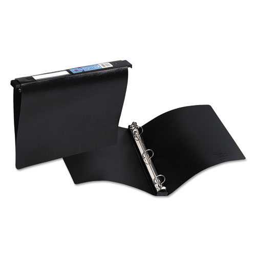 """Hanging Storage Flexible Non-View Binder with Round Rings, 3 Rings, 1"""" Capacity, 11 x 8.5, Black. Picture 1"""