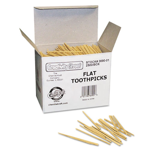 Flat Wood Toothpicks, Wood, Natural, 2,500/Pack. Picture 2