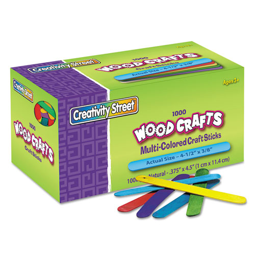 """Colored Wood Craft Sticks, 4.5"""" x 0.38"""", Wood, Assorted, 1,000/Box. Picture 1"""