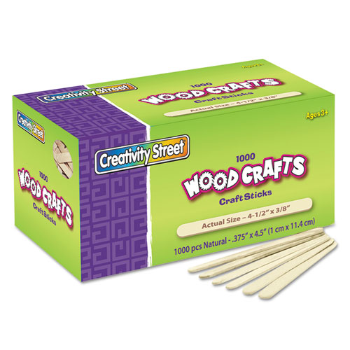 "Natural Wood Craft Sticks, 4.5"" x 0.38"", Wood, Natural, 1,000/Box. Picture 1"