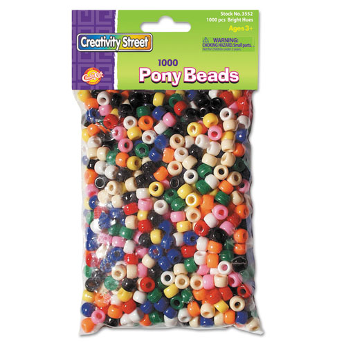 Pony Beads, Plastic, 6 mm x 9 mm, Assorted Colors, 1,000/Set. Picture 1