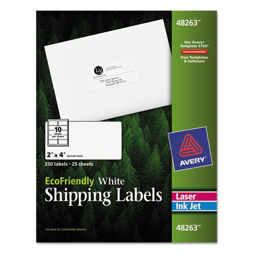 EcoFriendly Mailing Labels, Inkjet/Laser Printers, 2 x 4, White, 10/Sheet, 25 Sheets/Pack. Picture 1