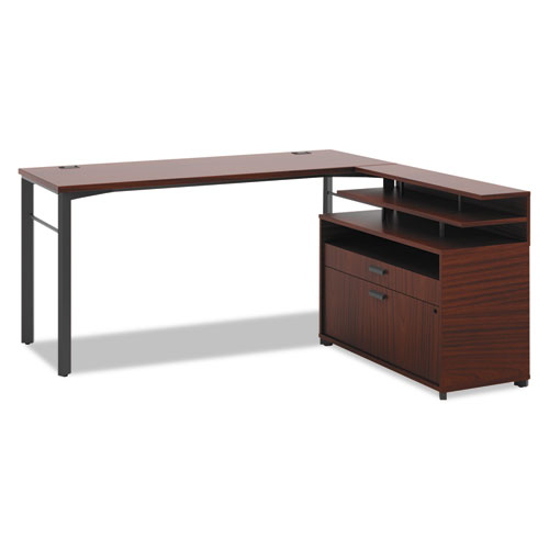 Manage Series L-Station with File Center, 60w x 60d x 29-1/2h, Chestnut. Picture 1