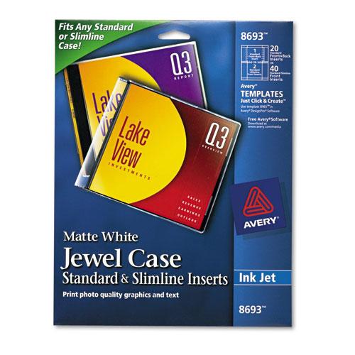 Inkjet CD/DVD Jewel Case Inserts, Matte White, 20/Pack. Picture 1