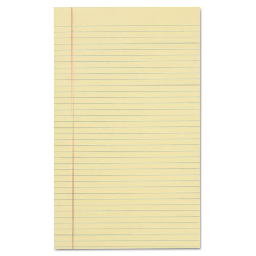 Glue Top Pads, Wide/Legal Rule, 8.5 x 14, Canary, 50 Sheets, Dozen. Picture 2