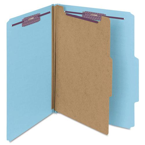 Four-Section Pressboard Top Tab Classification Folders with SafeSHIELD Fasteners, 1 Divider, Letter Size, Blue, 10/Box