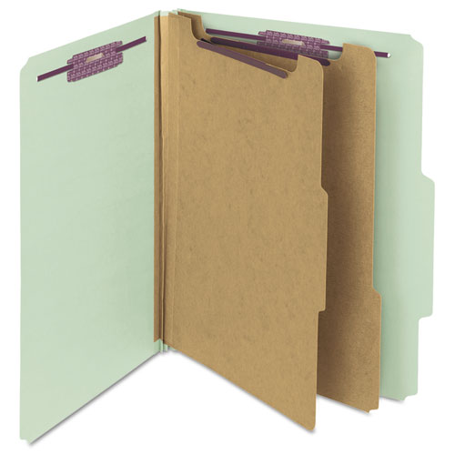 Pressboard Classification Folders with SafeSHIELD Coated Fasteners, 2/5 Cut, 2 Dividers, Letter Size, Gray-Green, 10/Box