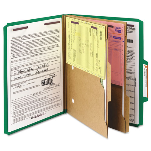 6-Section Pressboard Top Tab Pocket-Style Classification Folders with SafeSHIELD Fasteners, 2 Dividers, Letter, Green, 10/Box. Picture 2