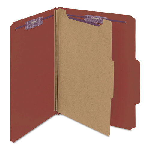 Pressboard Classification Folders with SafeSHIELD Coated Fasteners, 2/5 Cut, 1 Divider, Letter Size, Red, 10/Box. Picture 4