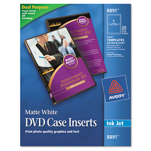 Inkjet DVD Case Inserts, Matte White, 20/Pack. Picture 1