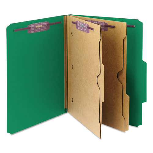 6-Section Pressboard Top Tab Pocket-Style Classification Folders with SafeSHIELD Fasteners, 2 Dividers, Letter, Green, 10/Box. Picture 4