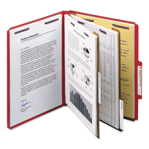 Six-Section Pressboard Top Tab Classification Folders with SafeSHIELD Fasteners, 2 Dividers, Letter Size, Bright Red, 10/Box. Picture 3