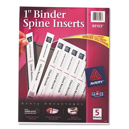 """Binder Spine Inserts, 1"""" Spine Width, 8 Inserts/Sheet, 5 Sheets/Pack. Picture 1"""