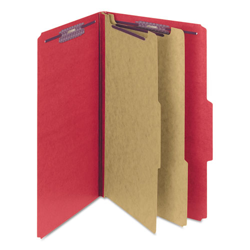 Six-Section Pressboard Top Tab Classification Folders with SafeSHIELD Fasteners, 2 Dividers, Legal Size, Bright Red, 10/Box. Picture 3