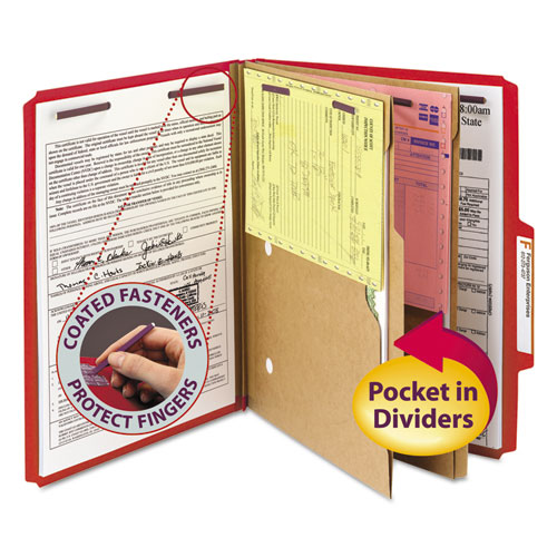 6-Section Pressboard Top Tab Pocket-Style Classification Folders with SafeSHIELD Fasteners, 2 Dividers, Letter, Red, 10/Box. Picture 1
