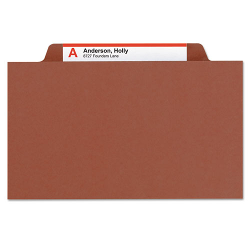 Pressboard Classification Folders with SafeSHIELD Coated Fasteners, 2/5 Cut, 1 Divider, Letter Size, Red, 10/Box. Picture 6