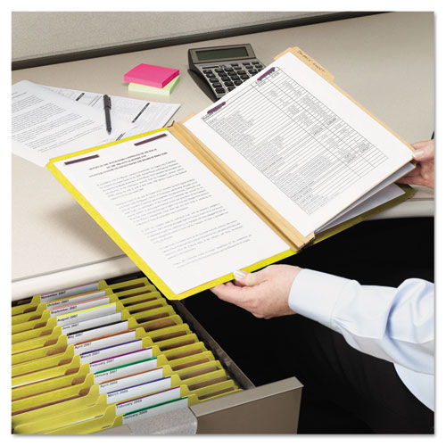 Six-Section Pressboard Top Tab Classification Folders with SafeSHIELD Fasteners, 2 Dividers, Legal Size, Yellow, 10/Box. Picture 5